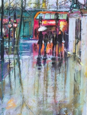 Rain in London Soft pastel Sold